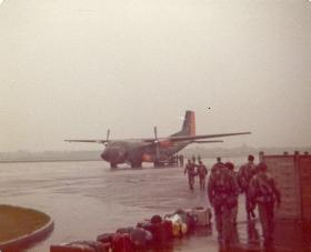 Members of 10 PARA emplaning a Luftwaffe Transall C-160, RAF Northolt, May 1978.