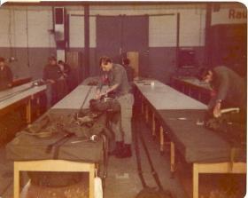 German Paras take turns packing parachutes! German Para Course 1978