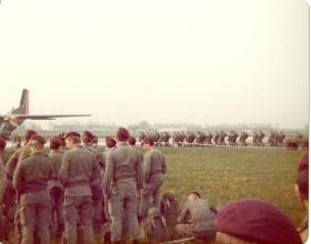 Members of 10 PARA waiting to emplane on German Para Course, Diepholz, 1978.
