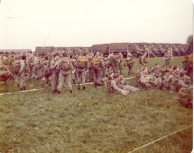 Waiting to emplane on German Para Course, Diepholz airfield, 1978.