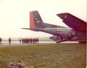 German Paras emplaning a Luftwaffe Transall C-160, German Para Course, 1978.