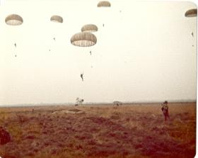 Members of 10 PARA dropping onto Diepholz DZ, German Para Course, 1978.
