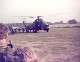 Members of 3 Coy 10 PARA boarding a Wessex Annual Camp Thetford, September 1978.