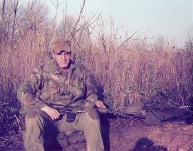 Pte Mark Ross (10 PARA) on exercise in Fort Campbell,Kentucky, March 1979.