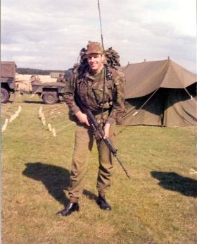 Pte Mark Ross (10 PARA) at start of NATO Exercise Annual Camp West Germany September 1979