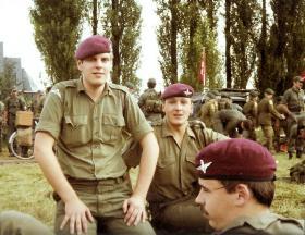 Pte Mark Ross and Lt Clarke (facing camera) 10 PARA Nijmegen March, July 1980