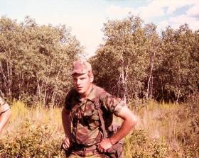 A member of 10 PARA on Exercise Fort Wainwright Alberta Canada July 1980