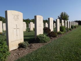 Row of unknown soldiers, Bari War Cemetery, Italy 2011.