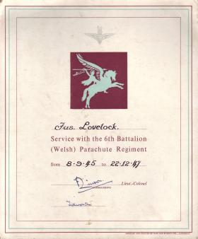 Fusilier Lovelock's certificate of service 1947