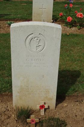 Headstone of Lt Gordon Royle, Ranville War Cemetery, 2010.