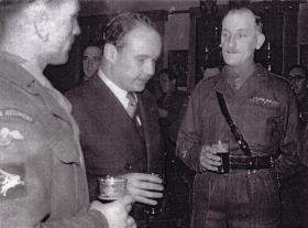 RSM J Alcock (right), 3 Para Bn, a mess Aldershot, c1955.