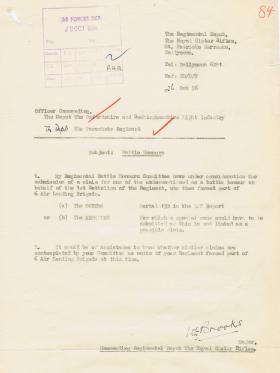 Letter regarding claim for Battle Honours for 1st Battalion Royal Ulster Rifles, 26 October 1956.