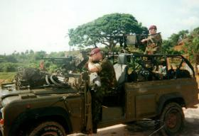 L/Cpl Proud, test firing on Aberdeen Peninsular, Freetown, Sierra Leone, May 2000.
