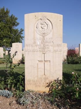Headstone of S/Sgt Henry Emblen, Bari War Cemetery, November 2011.