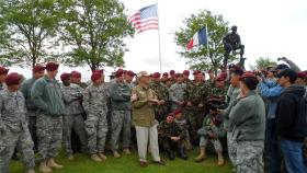 A US Airborne veteran recalls his experiences of D-Day in the shadow of the Iron Mike statue overlooking La Fiere DZ, 2012.