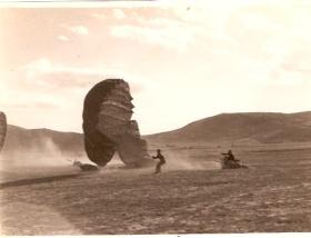 Dropping at Megara Airfield, 11 am, 12th Oct 1944 - 40 mph winds