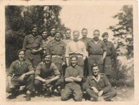 Tpr Alfred Cannon with other members of 1st Airborne Recce, Feiring Norway, 1945