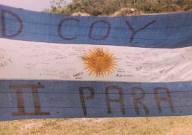 Argentinean flag captured from Goose Green settlement, 1982.