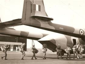Soldiers from Para Sqn RAC, embarking for the last Service jump from an Argosy, 1970-71(?)