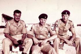 Three members of F Battery 7 PARA RHA, Hamala Camp, Bahrain, 1963.