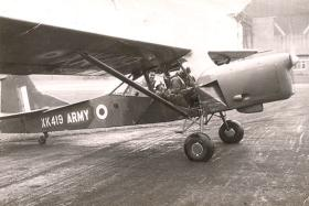 Harvey Clarke in the back of an Auster