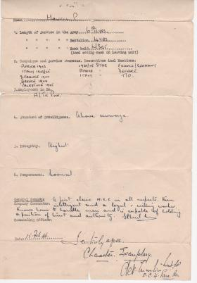 Discharge testimonial for L/Sgt Paul Howell