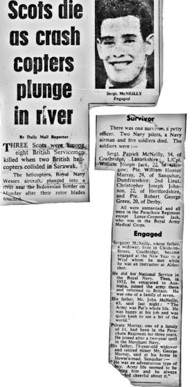 Daily Mail newspaper report on fatal helicopter crash in Borneo, April 1965.