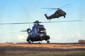 Sea King and Wessex resupply at Goose Green