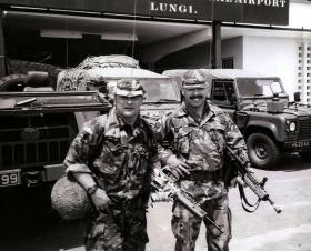 Cpl Sean Statham and Pte Kenny Moreland, 23 PFA, Lungi Airfield,  Sierra Leone, 2000.