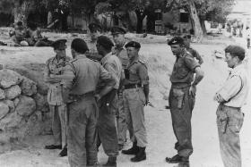 Senior officers discuss plans for Op Sparrowhawk against EOKA terrorists, Cyprus, October 1956