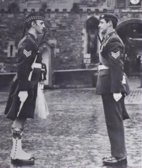 Sgt Chris Forrester on ceremonial duties at Edinburgh Castle, 1981.