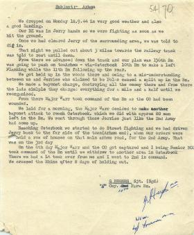 Personal Account of Arnhem by Sgt. G Hughes