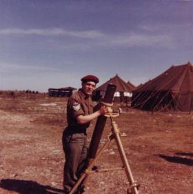 Sgt Tony Llewellyn with 4.2 inch mortar Cyprus 1960s