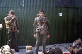 Two members of 1 Para Provost Pln RMP (V) waiting to emplane at RAF Northolt, 1970s.
