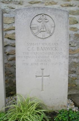 Headstone of Sgt Barwick, Herouvillette Cemetery, October 2010.