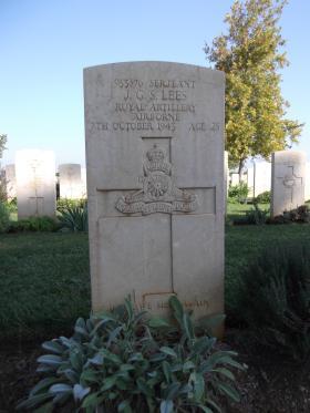 Headstone of Sgt JGS Lees, Bari War Cemetery, November 2011.