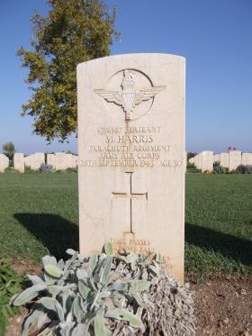 Headstone of Sgt Michael Harris, Bari War Cemetery, November 2011.