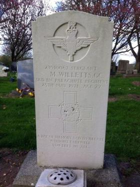 Grave of Sgt M Willetts GC, April 2014.