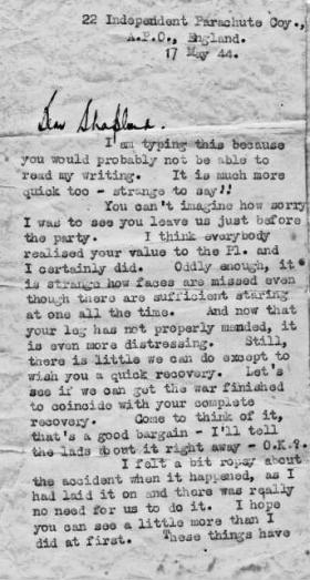 Letter from Lt Robert Midwood to Pte Alan Shapland May 1944