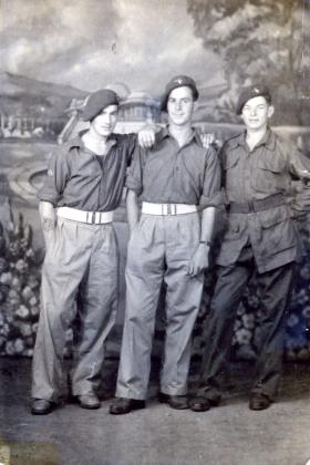 Geoffrey Sharpe with two colleagues in Singapore 26 October 45