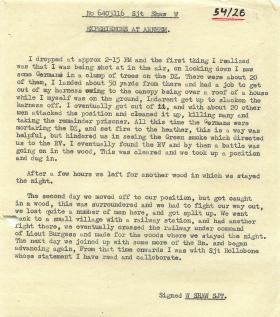 Sergeant Shaw's experiences of Arnhem.