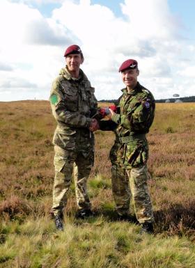 Lt Col James Coates handing over command of 3 PARA to Lt Col Mike Shervington, Ginkel Heath, 22 September 2012.