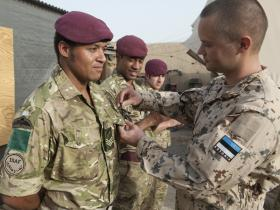 Sgt Wayne Shorthouse receives the Estonian Army Silver Cross of Merit