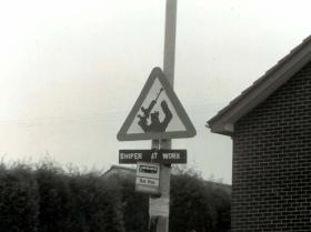 Republican 'Sniper at Work Sign Post', South Armagh, 1990s.