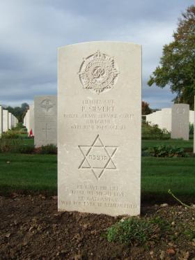 Grave of Lieutenant Phillip Silvert. Ranville War Cemetery, Normandy.