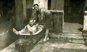 Pte George Davies having a dip, 7th Para Bn, Singapore 1945.
