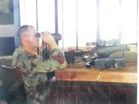 C/Sgt Paul Tonks on sniper duties, Lungi Airport, Sierra Leone, 2000.
