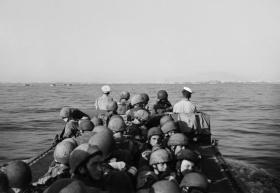 British Airborne Troops approach Taranto in a landing craft, Italy, September 1943