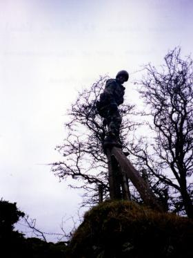 Bob Hilton negotiating a fence, A Coy, 2 PARA, west of Newtownhamilton, Northern Ireland, 1997.