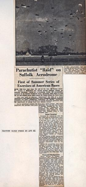 Newspaper article on Exercise Slipstream RAF Mildenhall April 1952